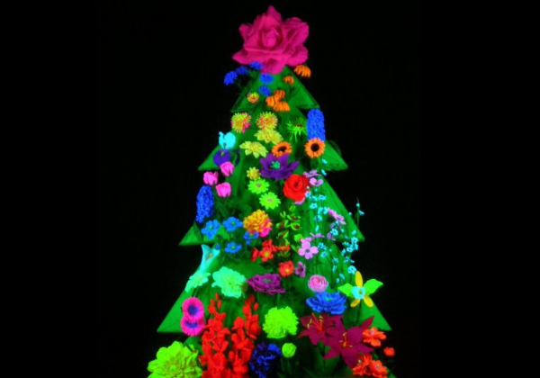 Black Light Floral Tree