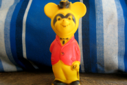 Vintage Yellow Gentleman Squeaky Mouse